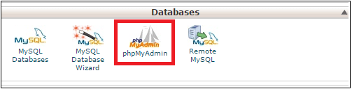 database section cpanel