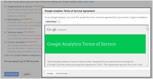 Google Analytics term of Services Agreement