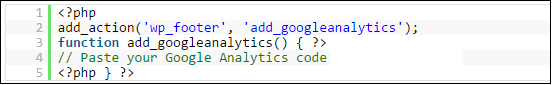 add google analytics with function.php