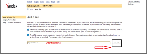 Submit Site On Yandex webmaster Tools Account