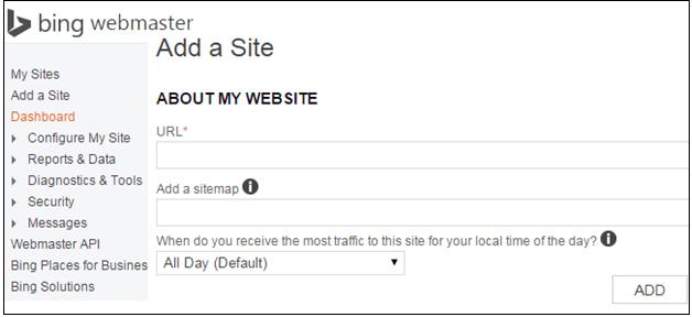 add site on bing