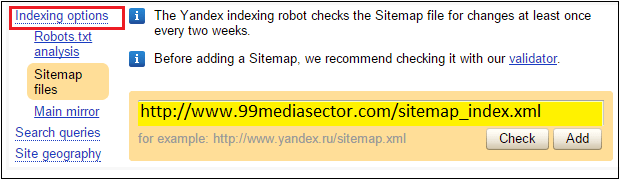 submit sitemap in yandex webmaster tools