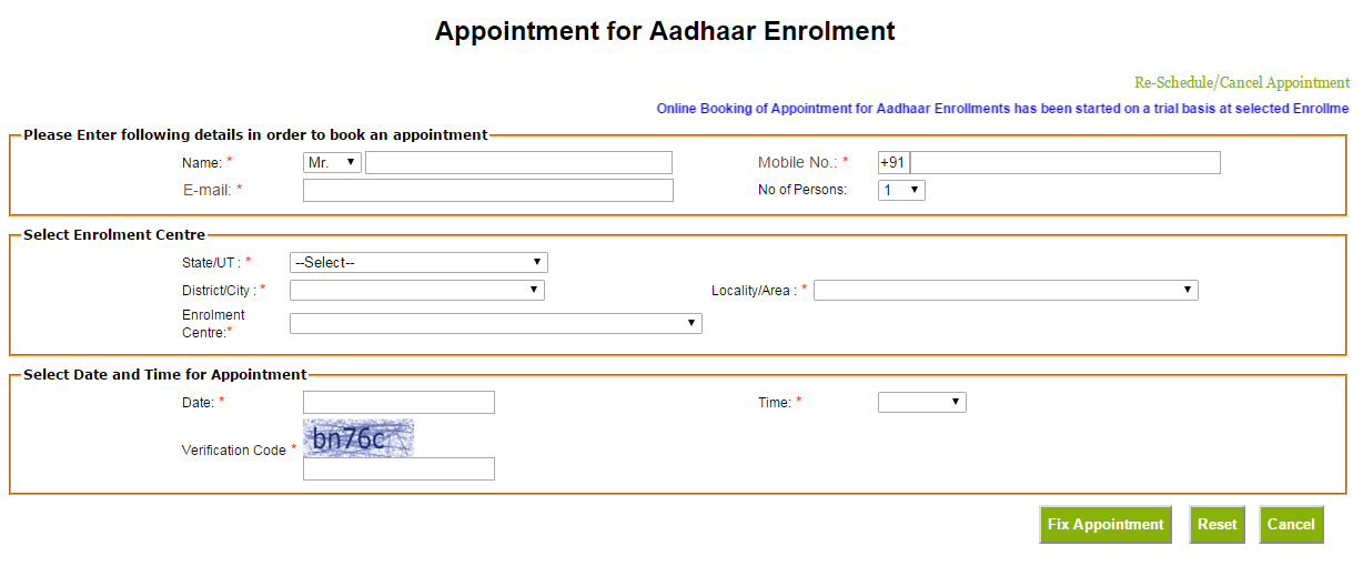 aapoinment for aadhaar card registration