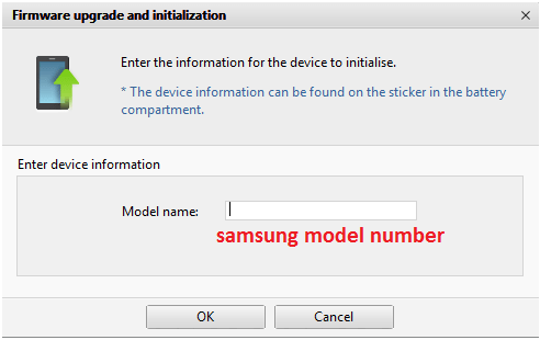 enter samsung model number