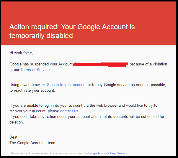 YouTube account Suspended
