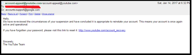 my youtube channel suspended