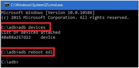 adb reboot edl command