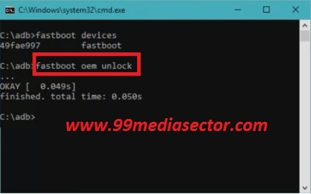 fastboot oem unlock