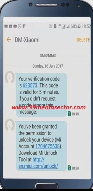 xiaomi verification code