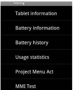 Project Menu Act, Testing Menu