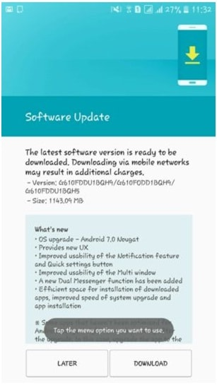 Samsung Galaxy J7 Prime SM-G610F Nougat Update