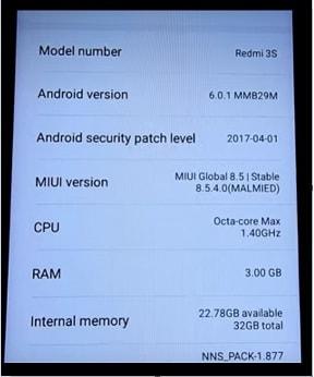 Redmi 3s Prime MIUI 8.5.4.0 Global Stable ROM