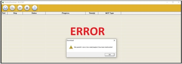 load bin packet failed factory download tool