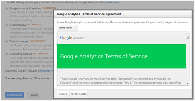 google analytics account term and condition