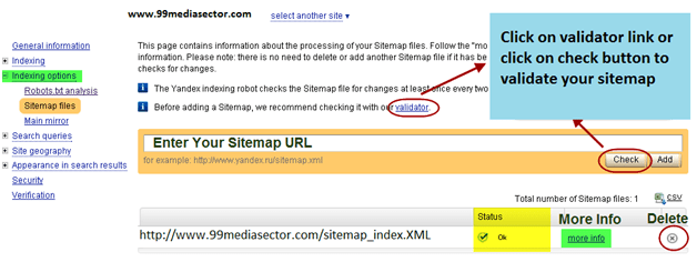 how to submit sitemap on yandex webmaster tools 99media