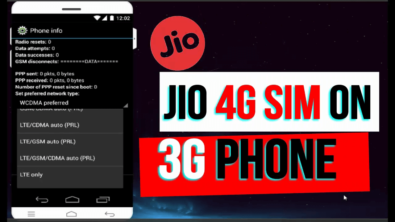 Use Jio 4g Sim in 3g phone,jio sim in 3g device