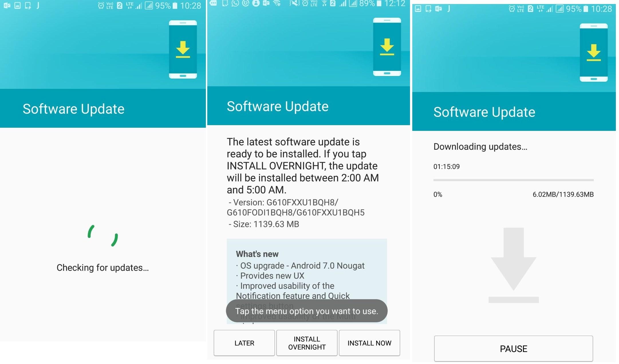 Samsung Galaxy On Nxt Nougat Update