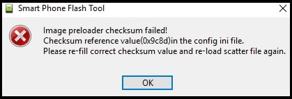 image preloader checksum failed error