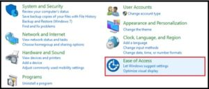 ease to access setting w10