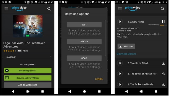 download amazon prime movies on android