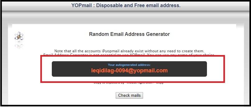 yopmail fake mail generator