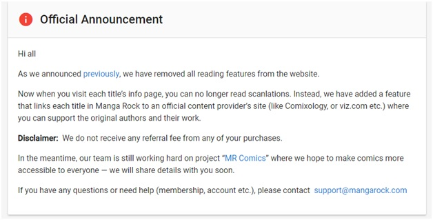 Manga rock website shutting down