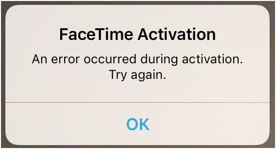 facetime activation failed