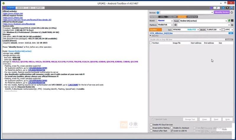 redmi 6a mi account remove UFI tool