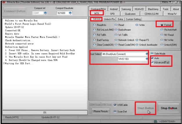 configure Miracle to unlock vivo y17
