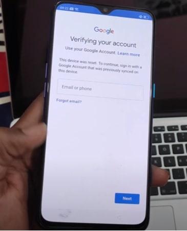 realme google account verification screen