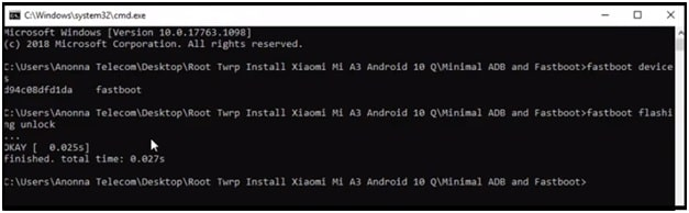mi a3 bootloader unlocking command