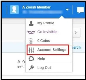 Zoosk account settings