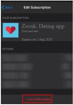 cancel subscription zoosk ios