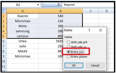 delete multiple excel rows