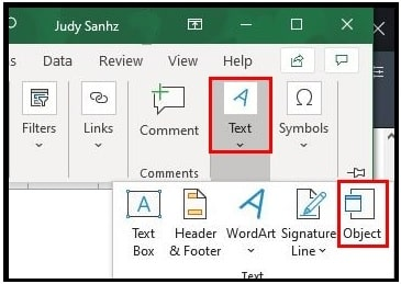 excel object section