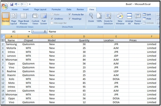 freeze row in Microsoft excel
