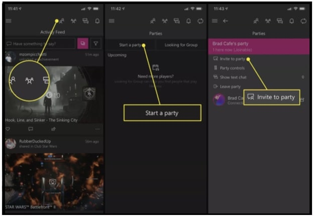 Creating an Xbox Live party in the Xbox app