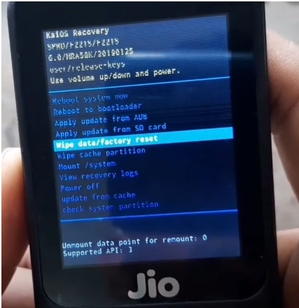 jio wipe data factory reset