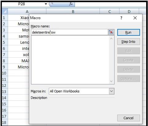 macros window to delete rows in excel