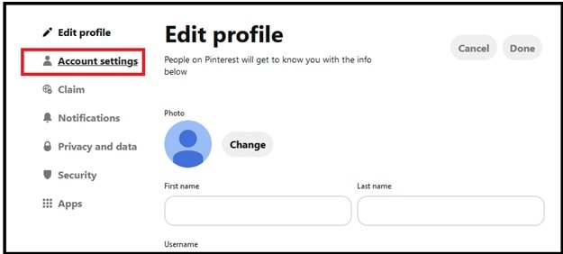Delete Pinterest Account Using Browser