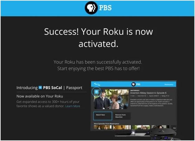 PBS activation message