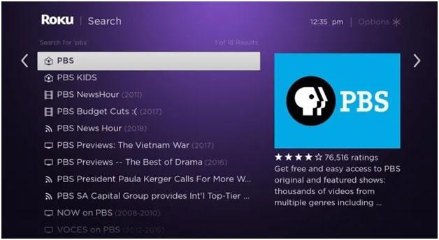 PBS app on ROKU