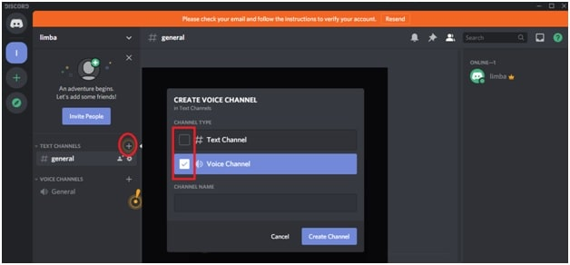 create voice channel on discord