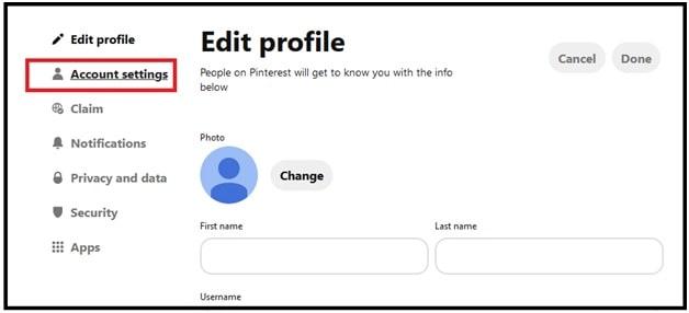 edit setting for Delete Pinterest Account