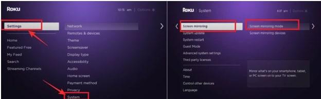 enable screen mirroring on ROKU Player