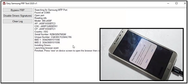 frp removed using easy samsung frp tool 2020
