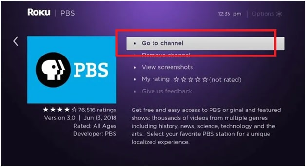 go to channel on roku