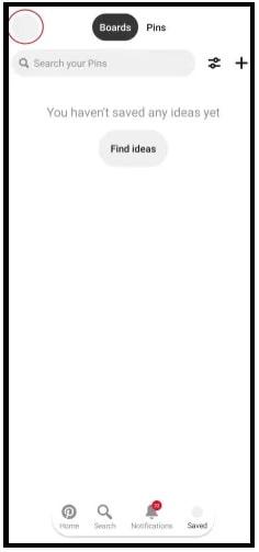remove Pinterest Account mobile