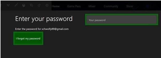 reset xbox password