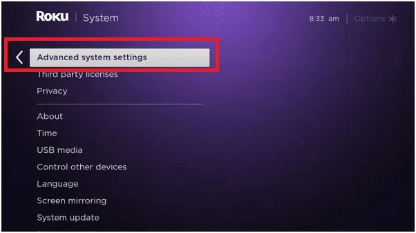 roku advanced system setting for reset roku